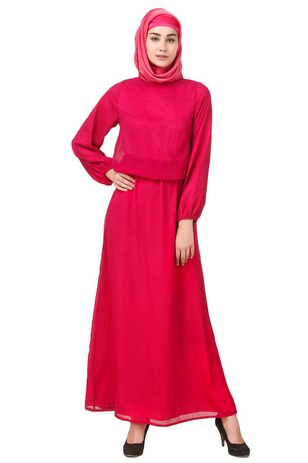 Magenta Dual Layer Chiffon and Satin Abaya AY-704