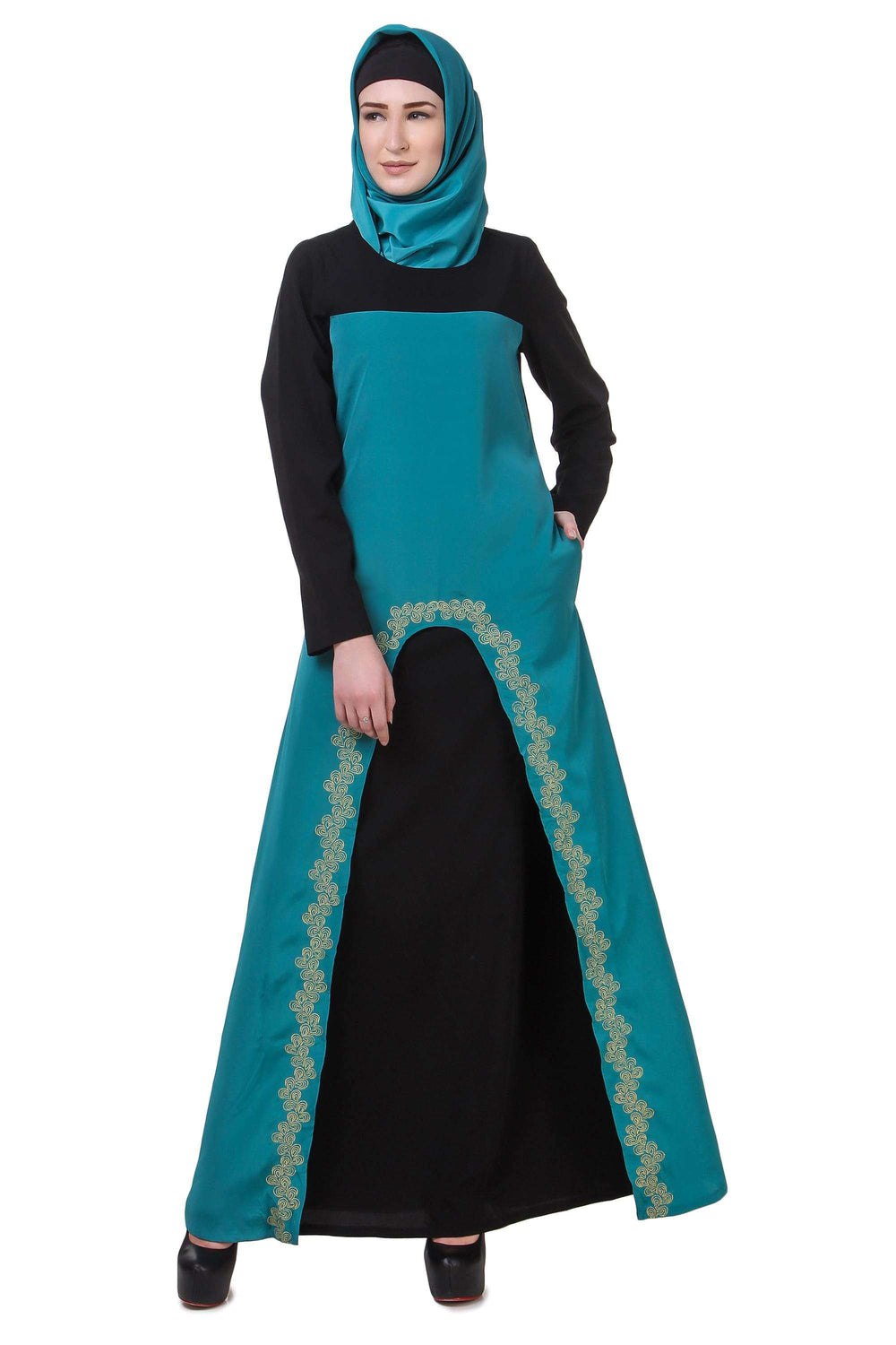 Black & Bottle Green Gold Embroidered Abaya
