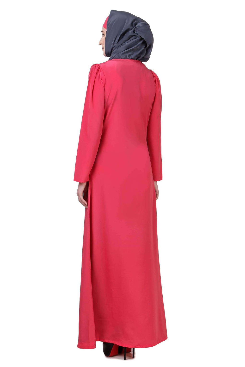 Sweet Pink & Grey Split Front Abaya
