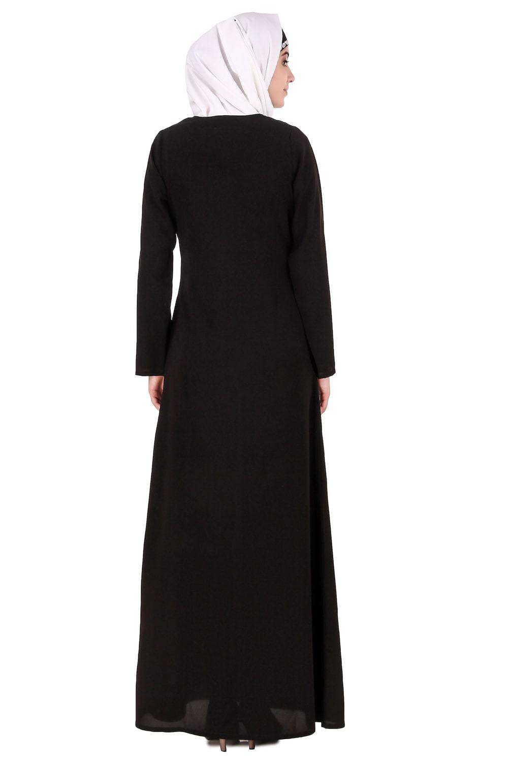 Black Leaf and Flower Embellished Black Nida Abaya