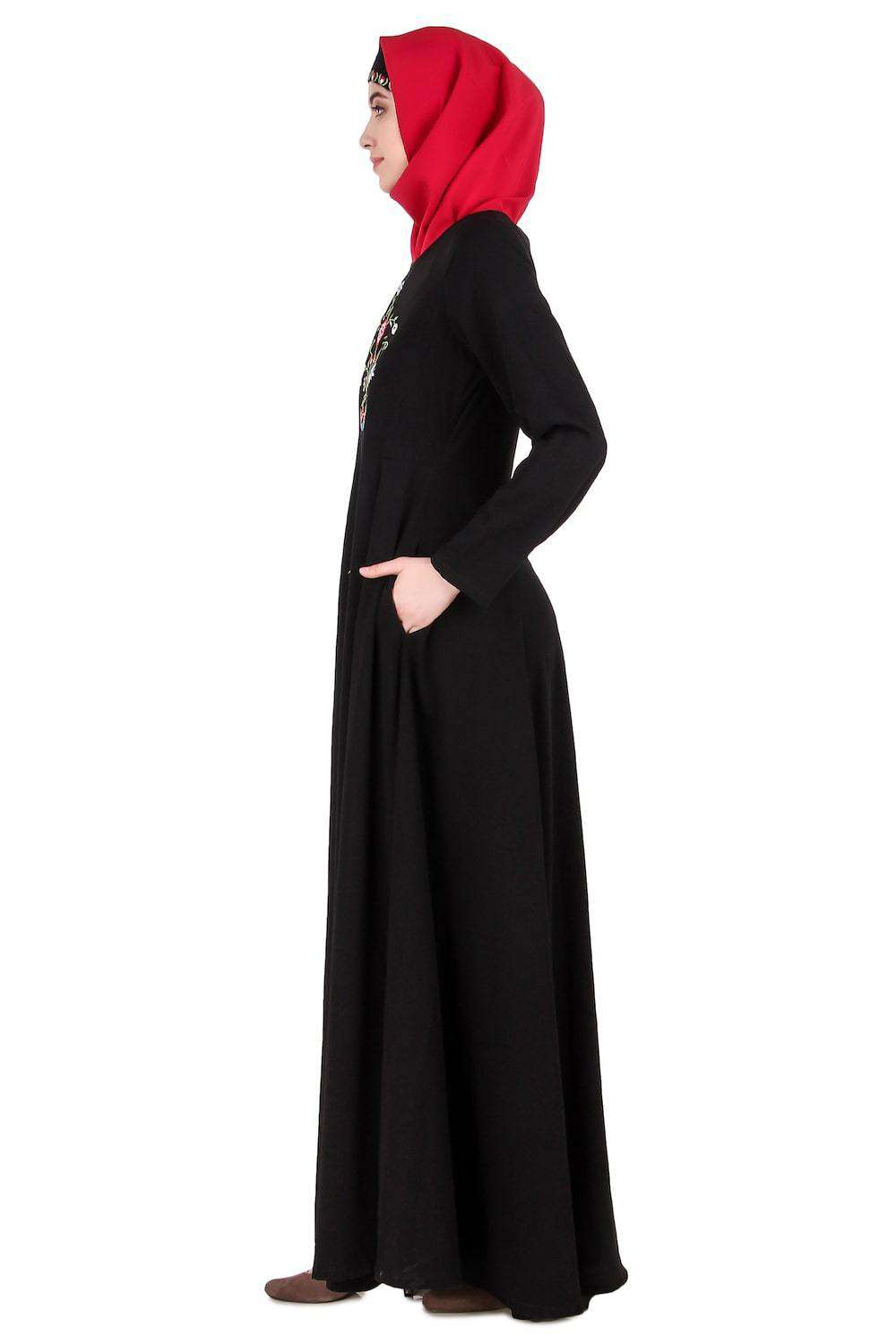 Black Floral Embroidered Nida Abaya