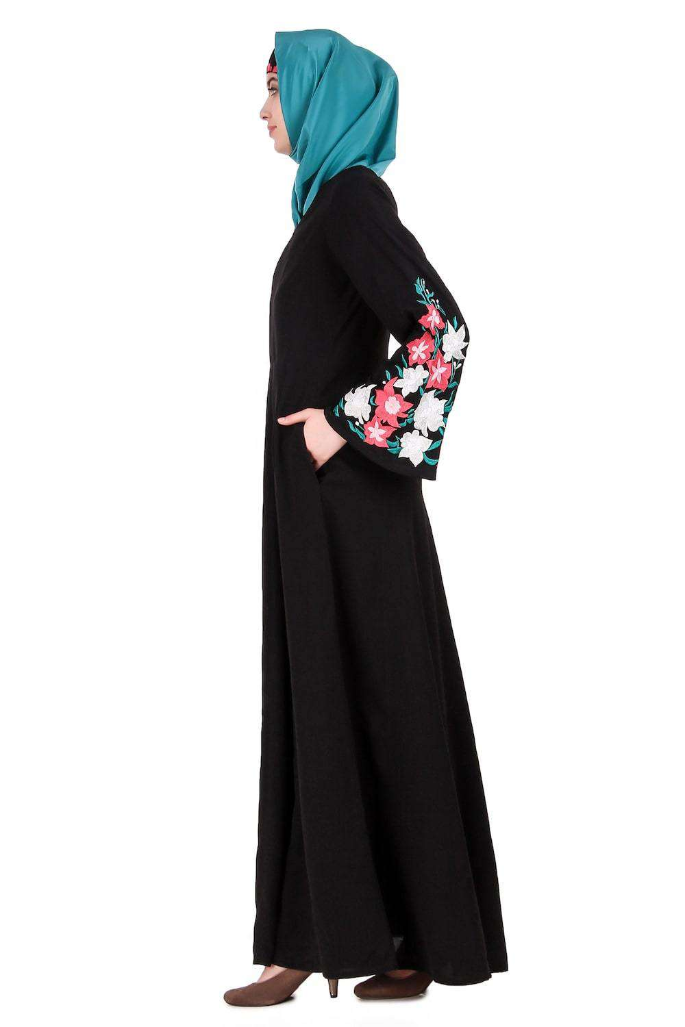 Embellished Bell Sleeve Umbrella Abaya Side