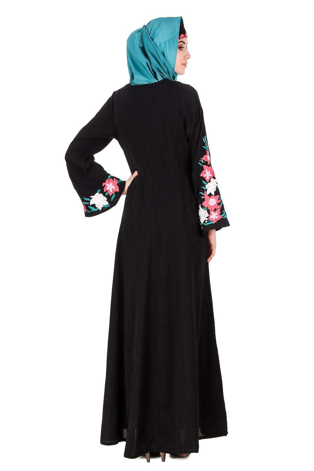 Embellished Bell Sleeve Umbrella Abaya Back