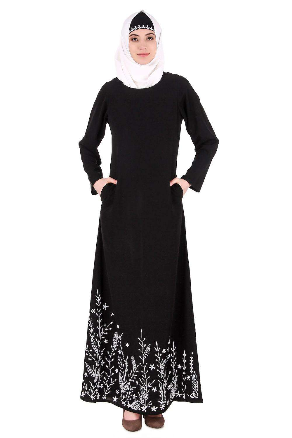 Descending Leaf Pattern Embroidered Abaya