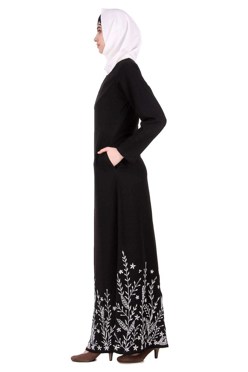 Descending Leaf Pattern Embroidered Abaya Side
