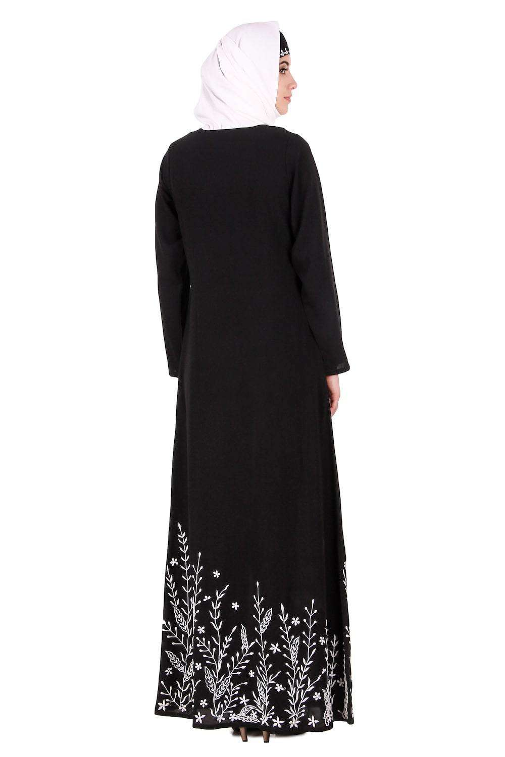 Descending Leaf Pattern Embroidered Abaya Back