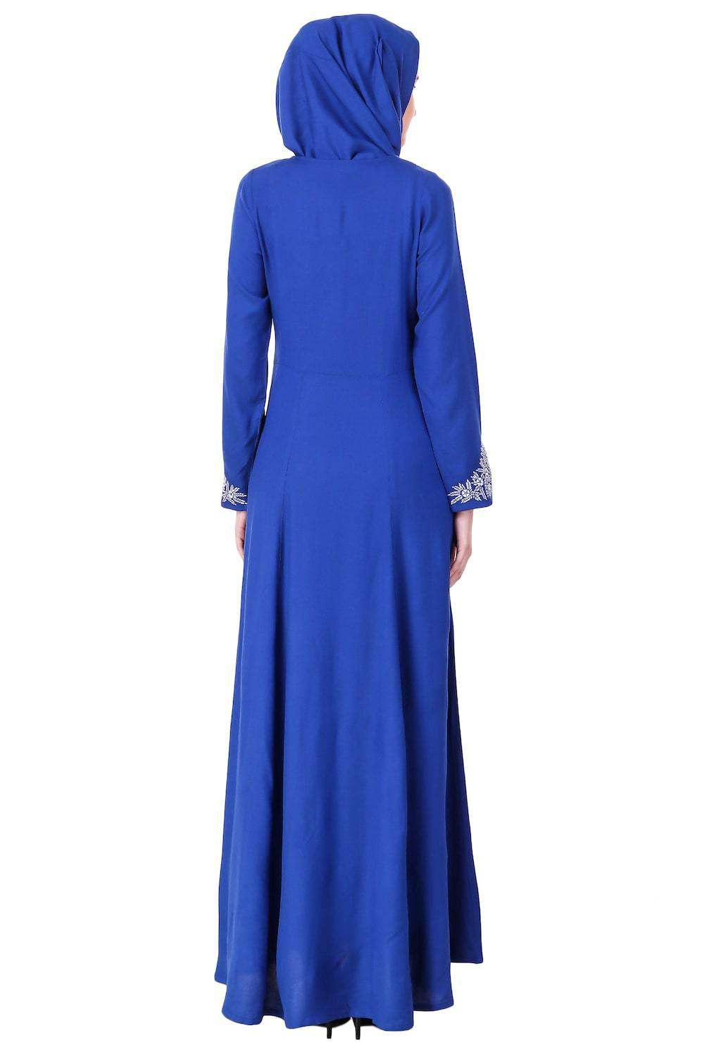 Split Neck Embellished Rayon Abaya