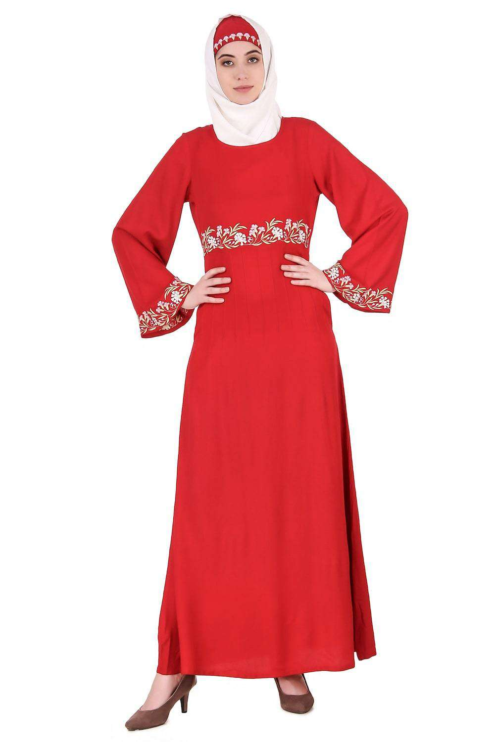 Red Bell Sleeve Rayon Abaya