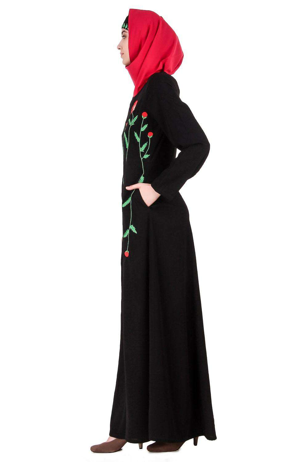 Long Embroidered Stem Nida Abaya