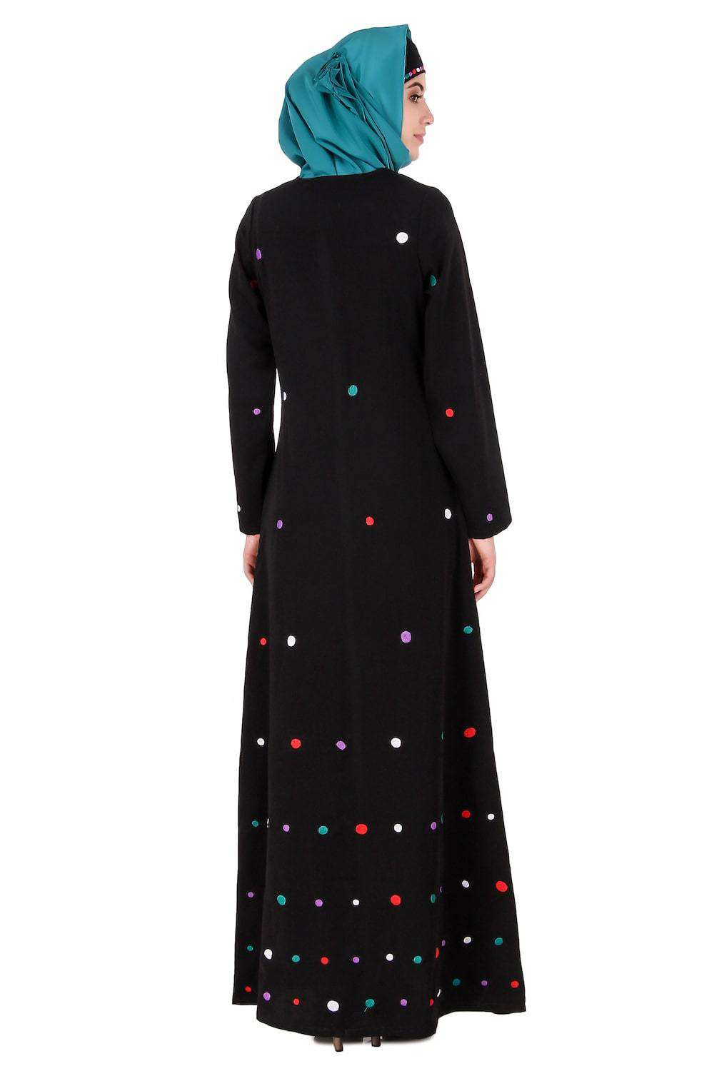 Colorful Embroidered Polka Dot Abaya