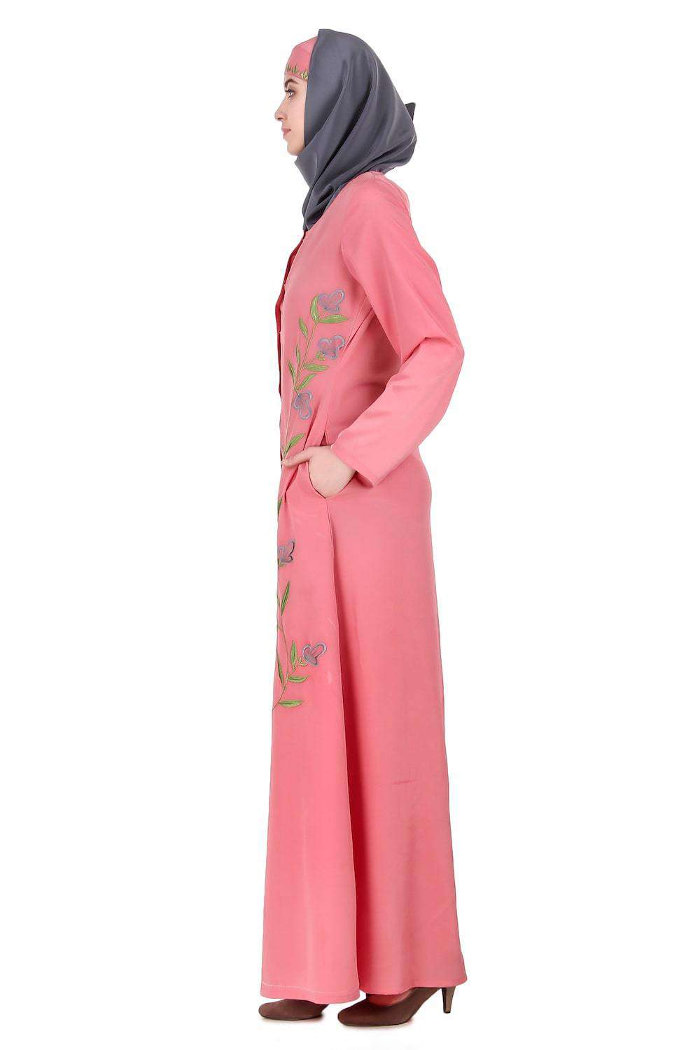 Dusty Pink Front Open Embellished Abaya