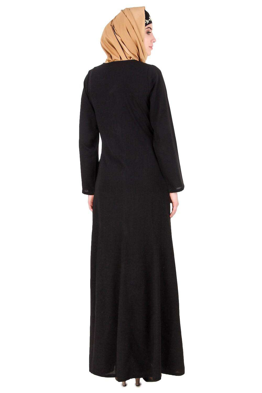 Black Nida Leaf Embroidered Abaya