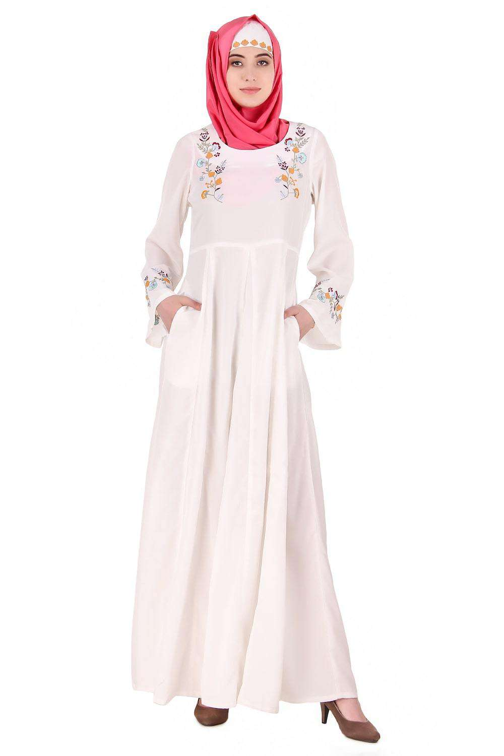Colorful Embroidered Bell Sleeve White Abaya
