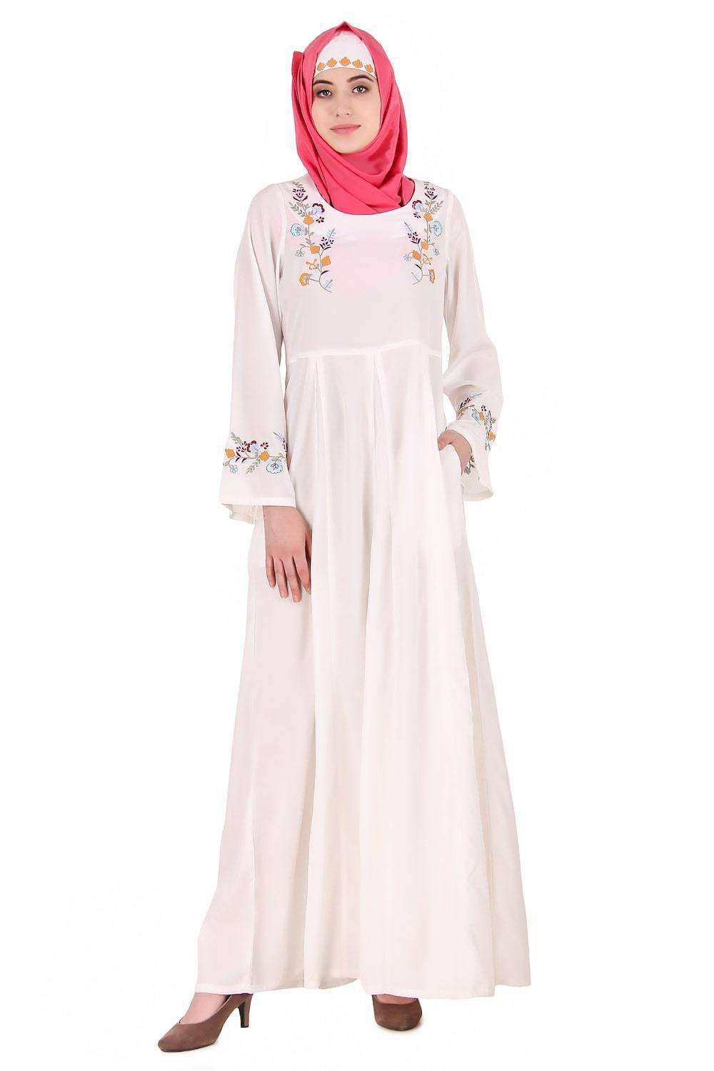 Colorful Embroidered Bell Sleeve White Abaya Front