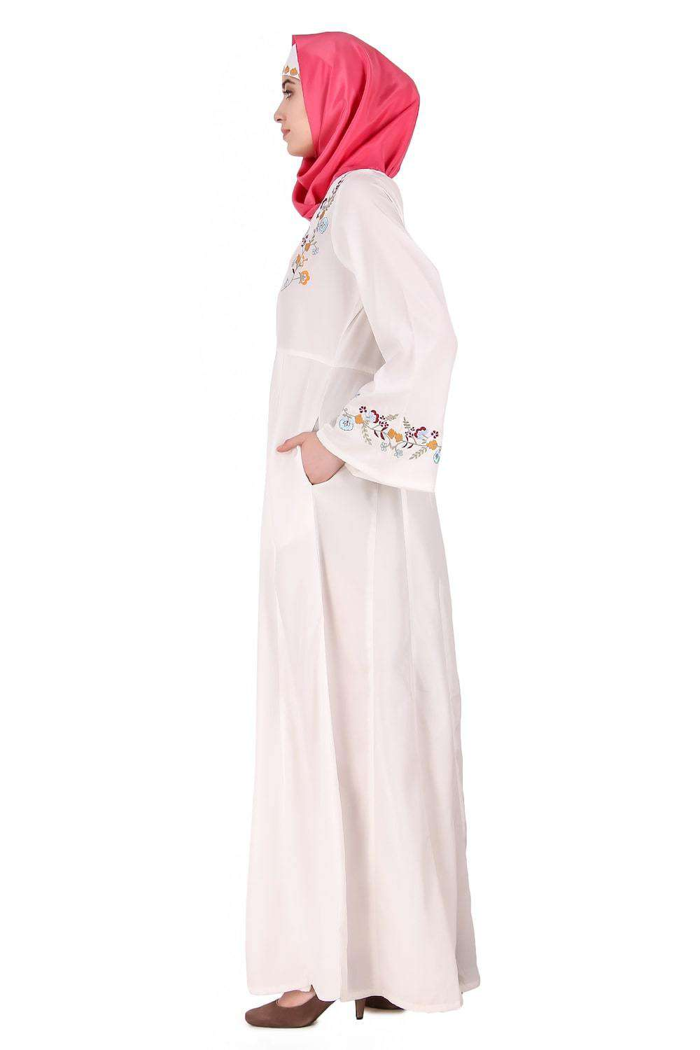Colorful Embroidered Bell Sleeve White Abaya Side