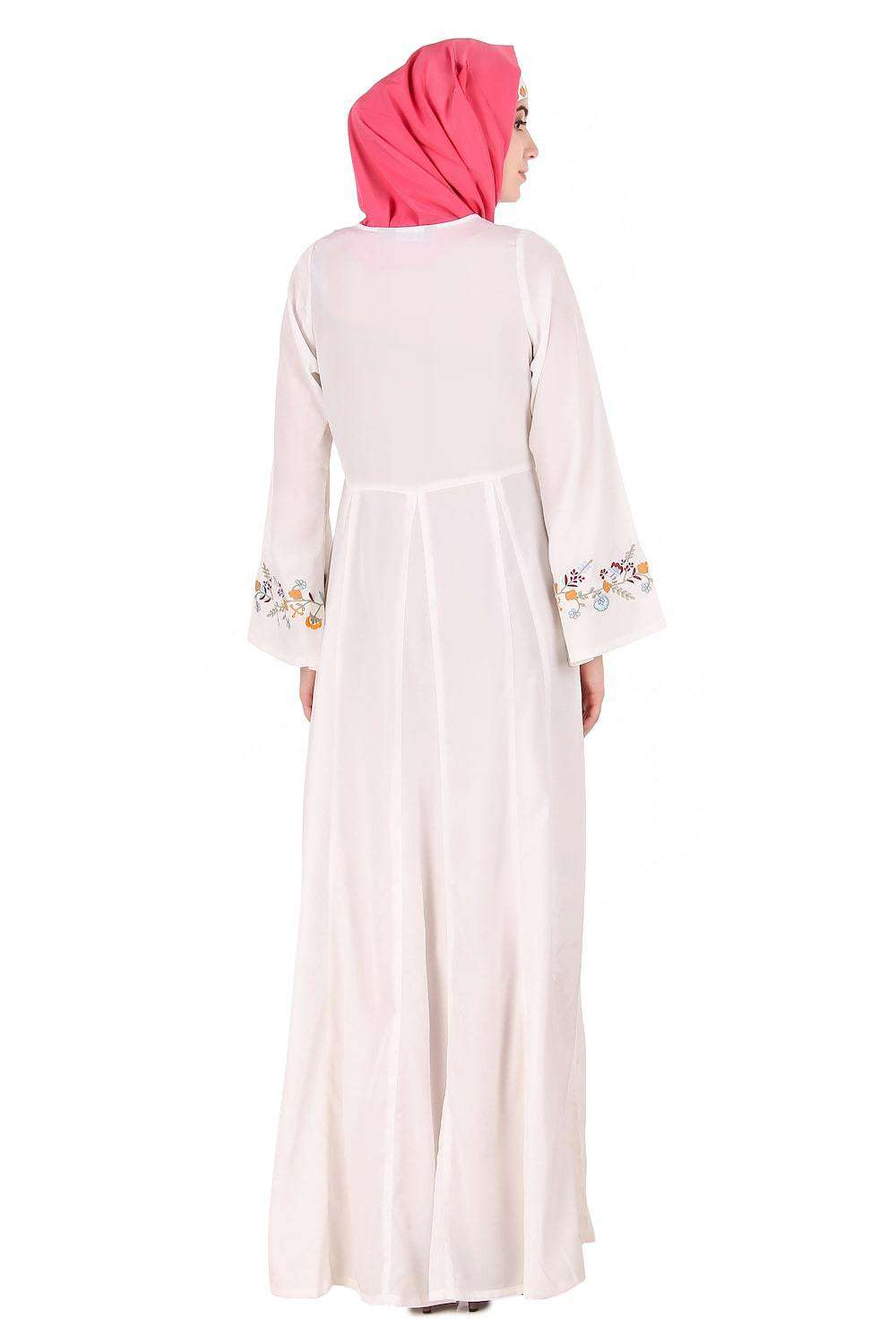 Colorful Embroidered Bell Sleeve White Abaya Back
