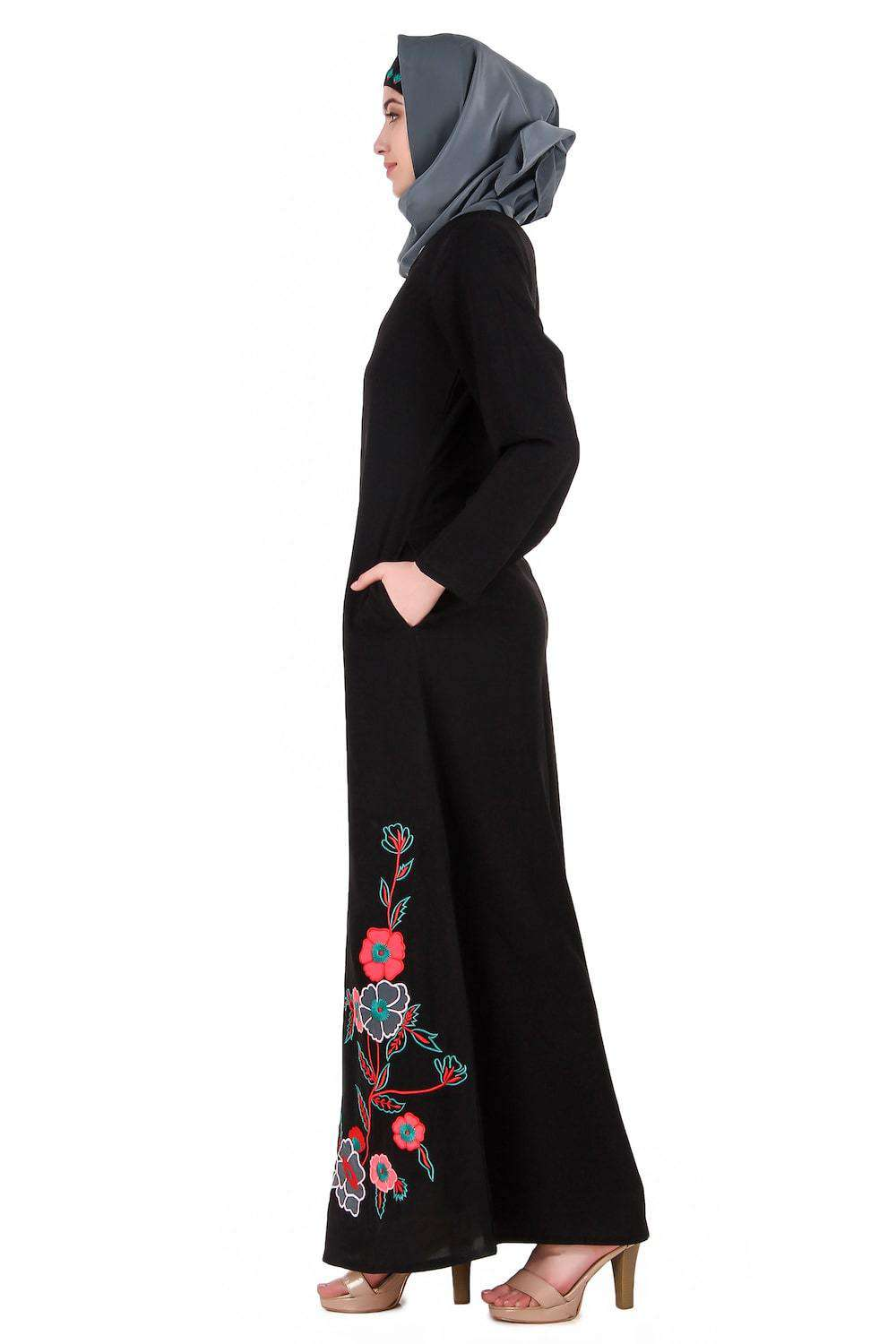 Floral Patch Work A-Line Abaya