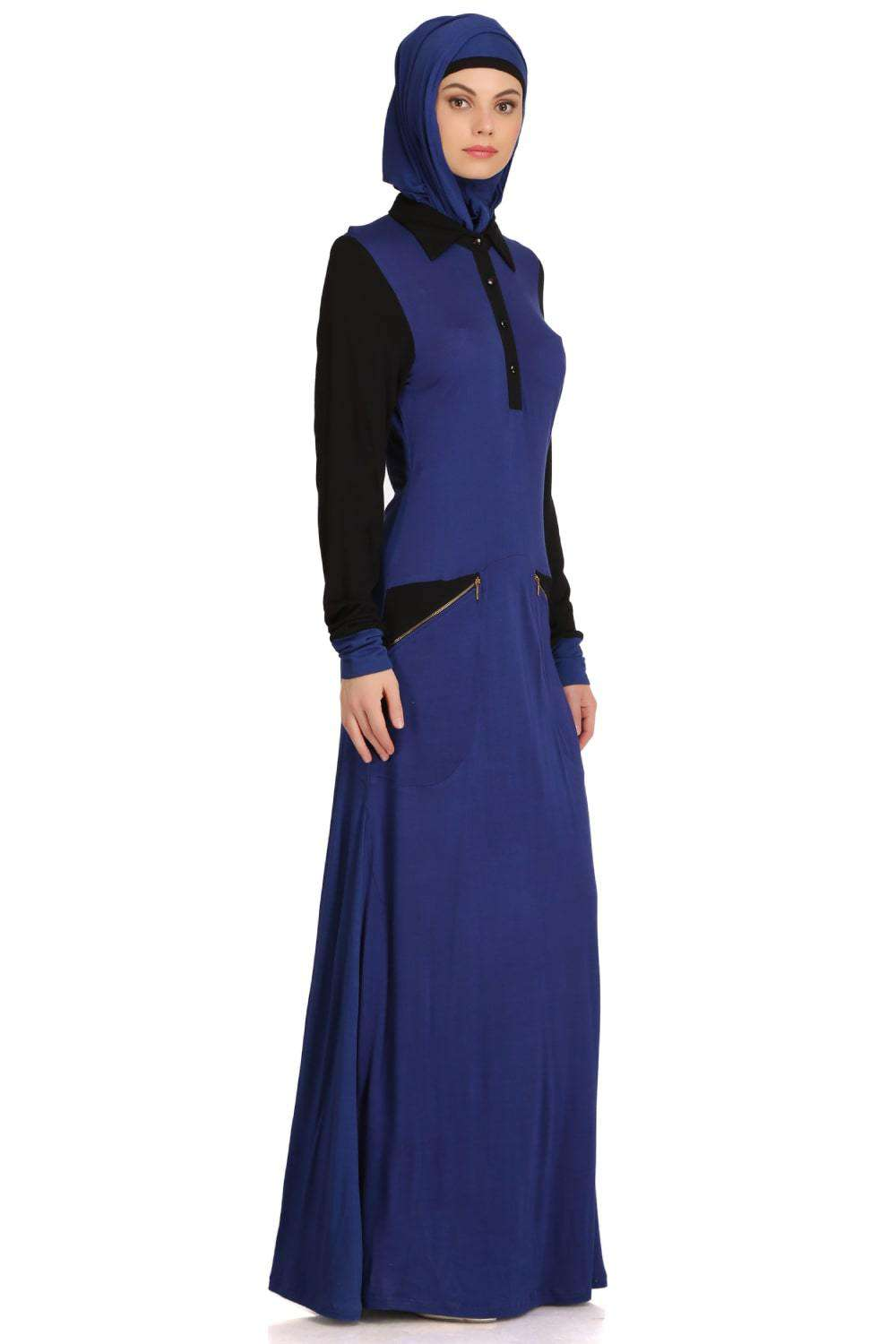 Dual Color Formal Wear Knit Abaya Side