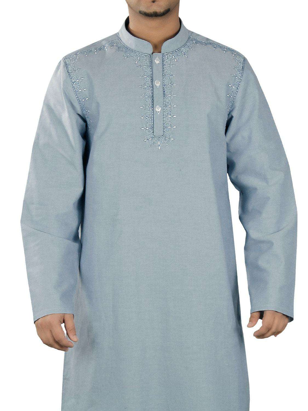 Nazeer Blue Cotton Galabiyya
