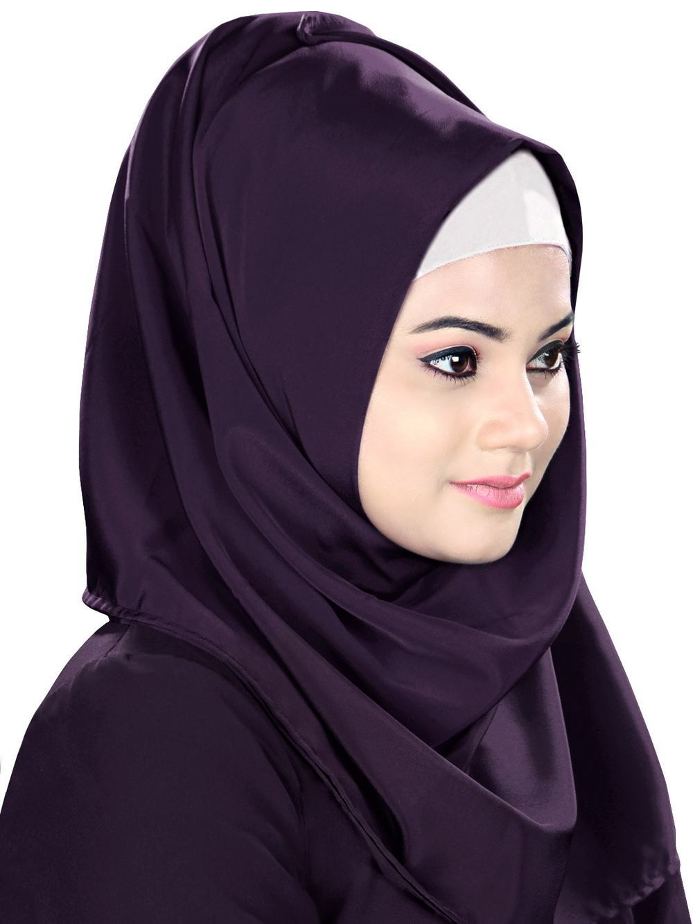 Purple Hijab With White Band