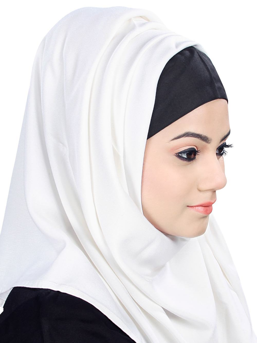White Rayon Hijab With Black Band