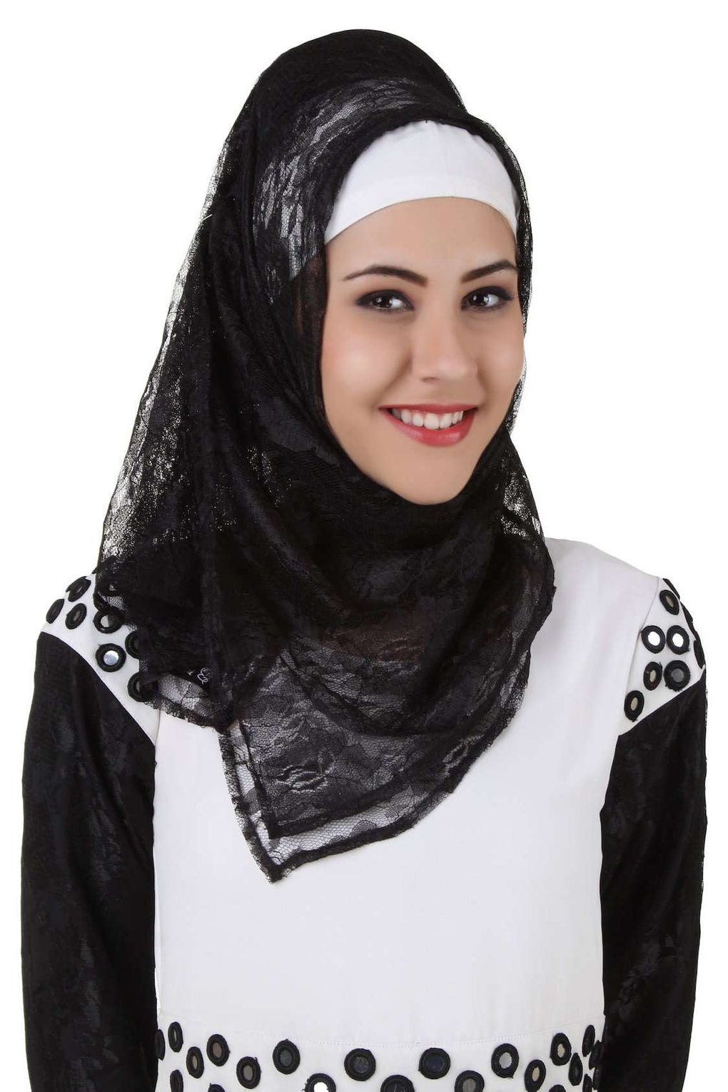 Taybah Fancy Black Flower Net Hijab