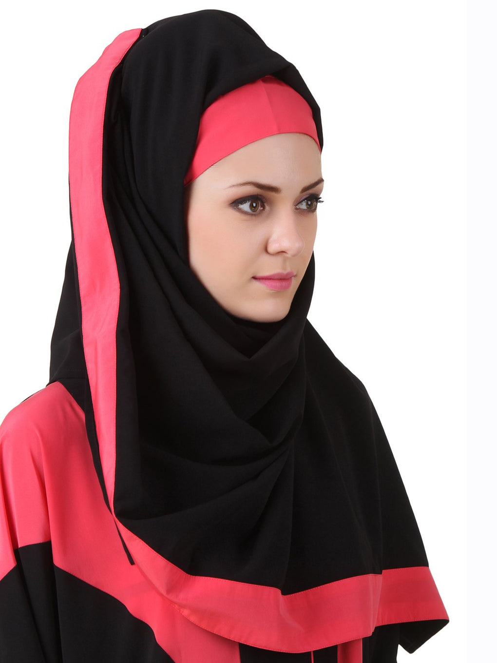 Aara Black Nida Hijab With Pink Band