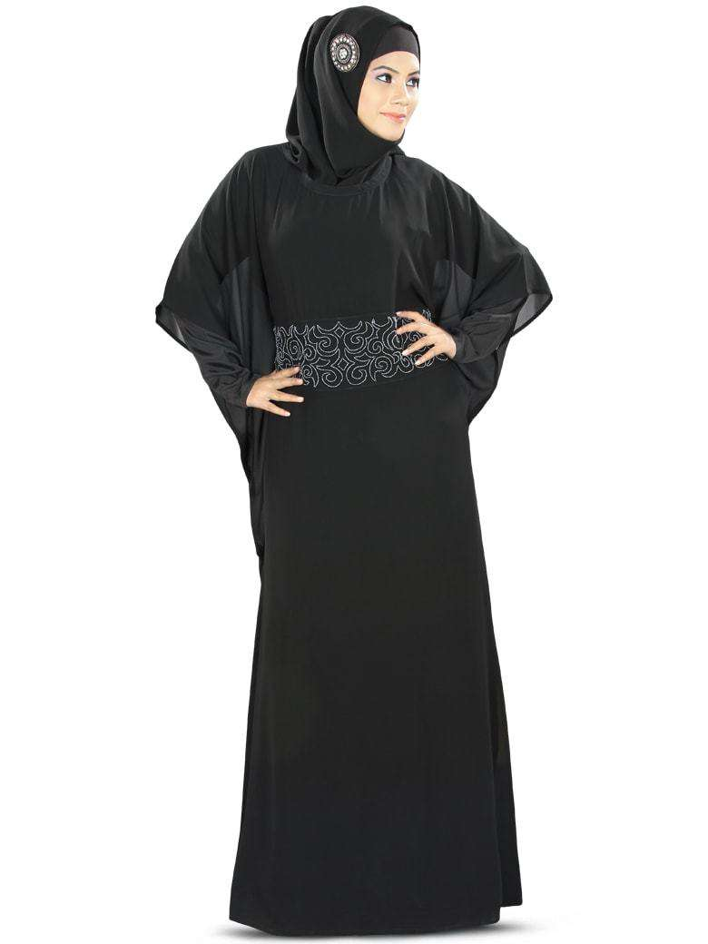 Anum Hand Embroidered Black Kaftan