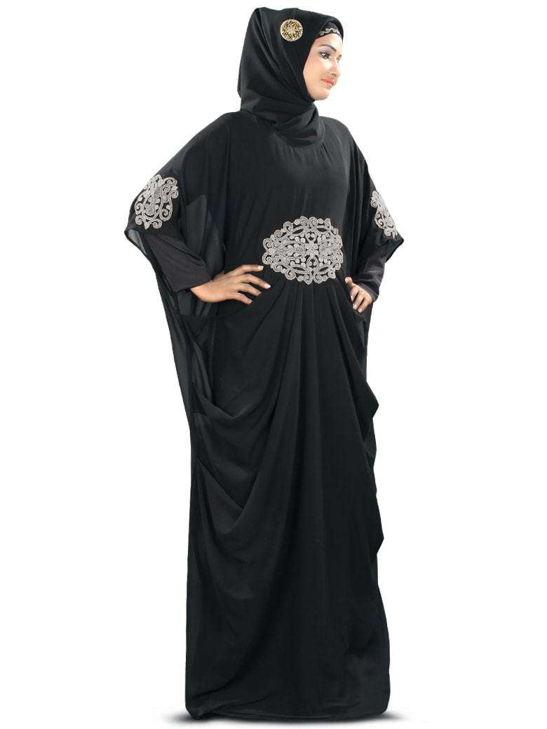 Amara Silver Embroidered Black Kaftan