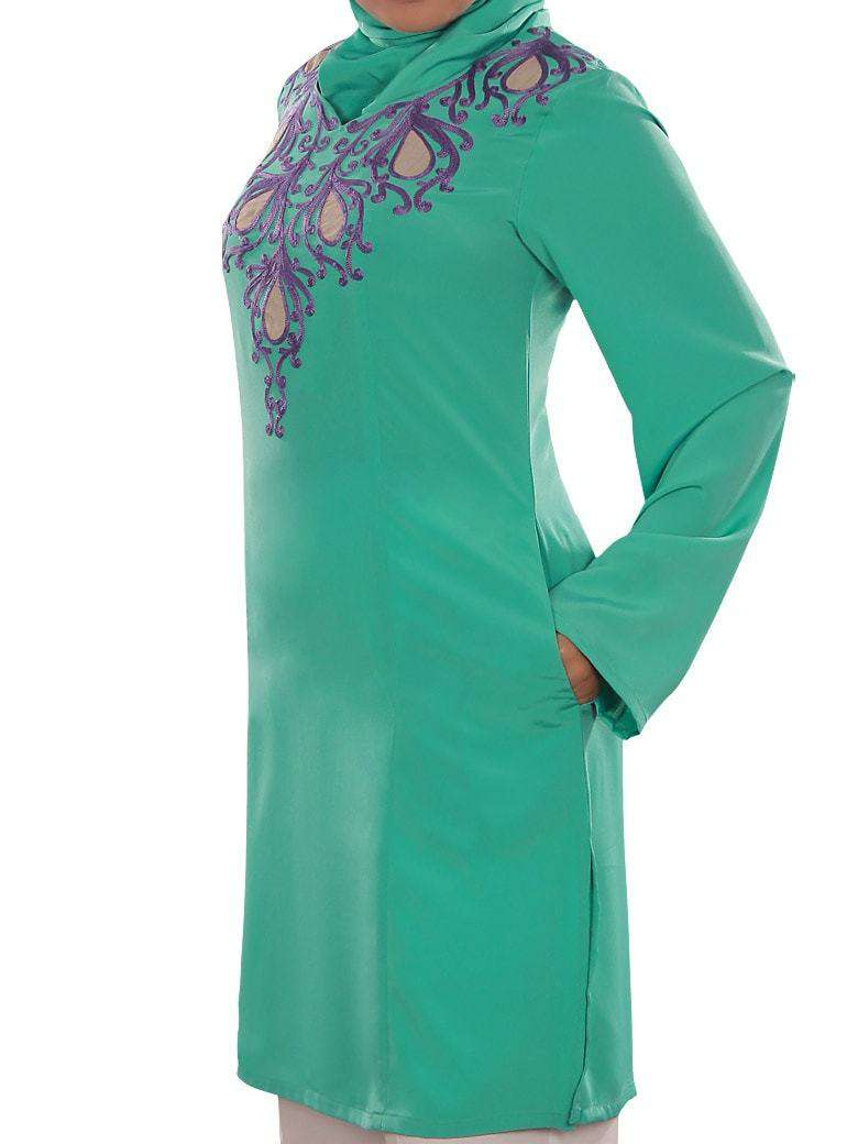 Reham Green Embroidered Tunic