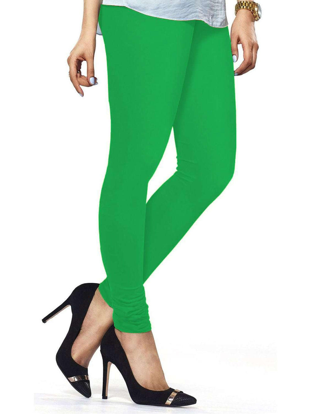 Cotton Lycra Churidar Free Size Forest Green Leggings