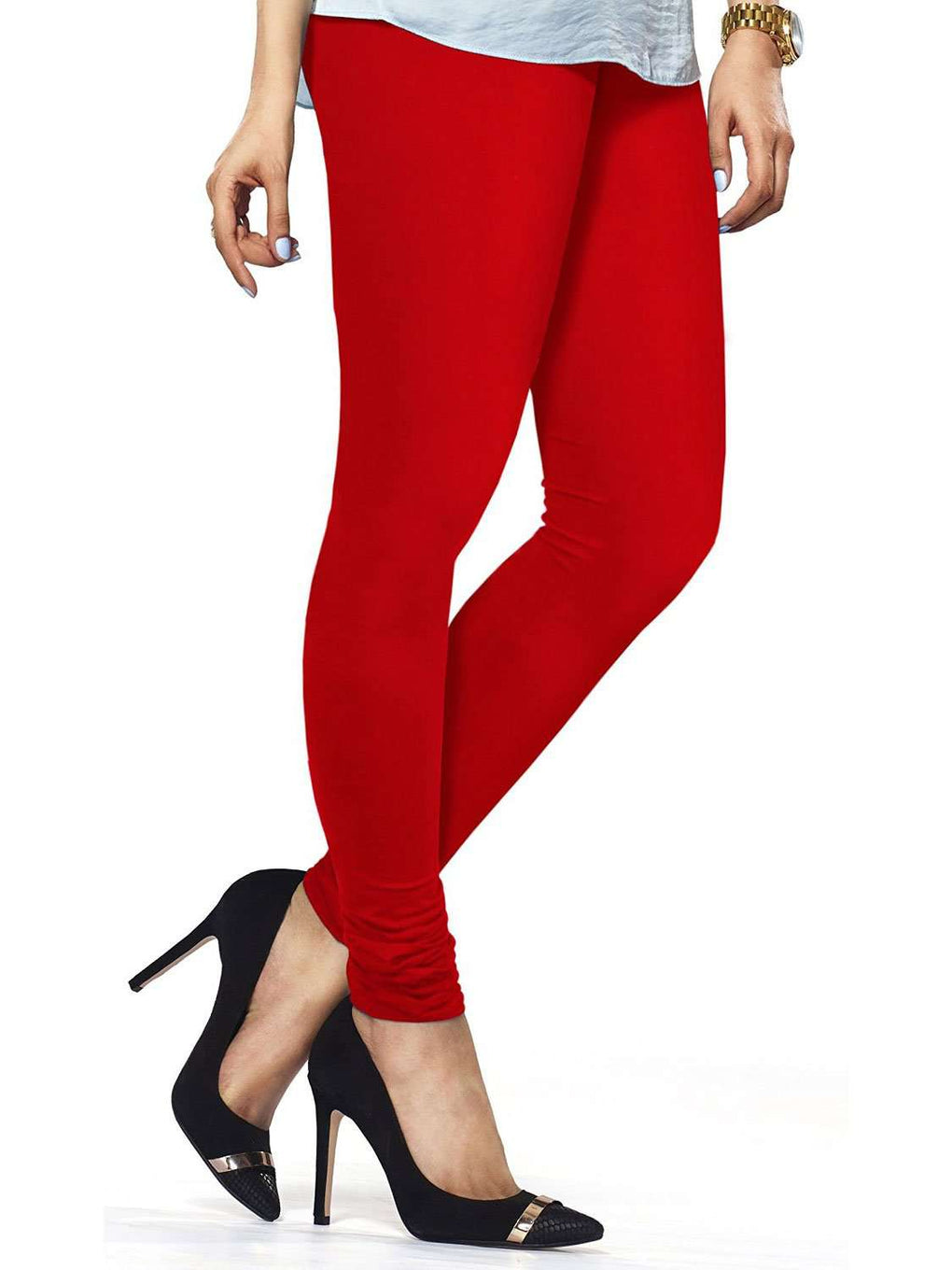 Cotton Lycra Churidar Free Size Red Leggings