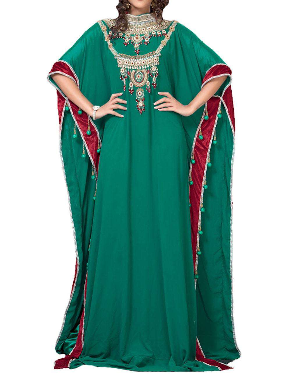 Graceful Bottle Green Color Designer Arabic Kaftan