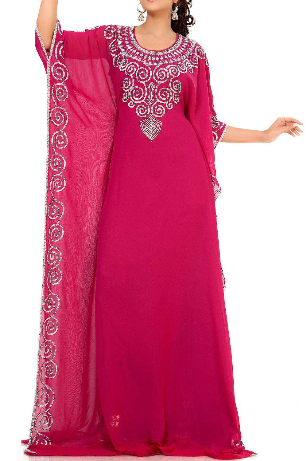 M /& S COLLECTION V-NECK EMBROIDERED KAFTAN IN CRANBERRY OR PINK MIX
