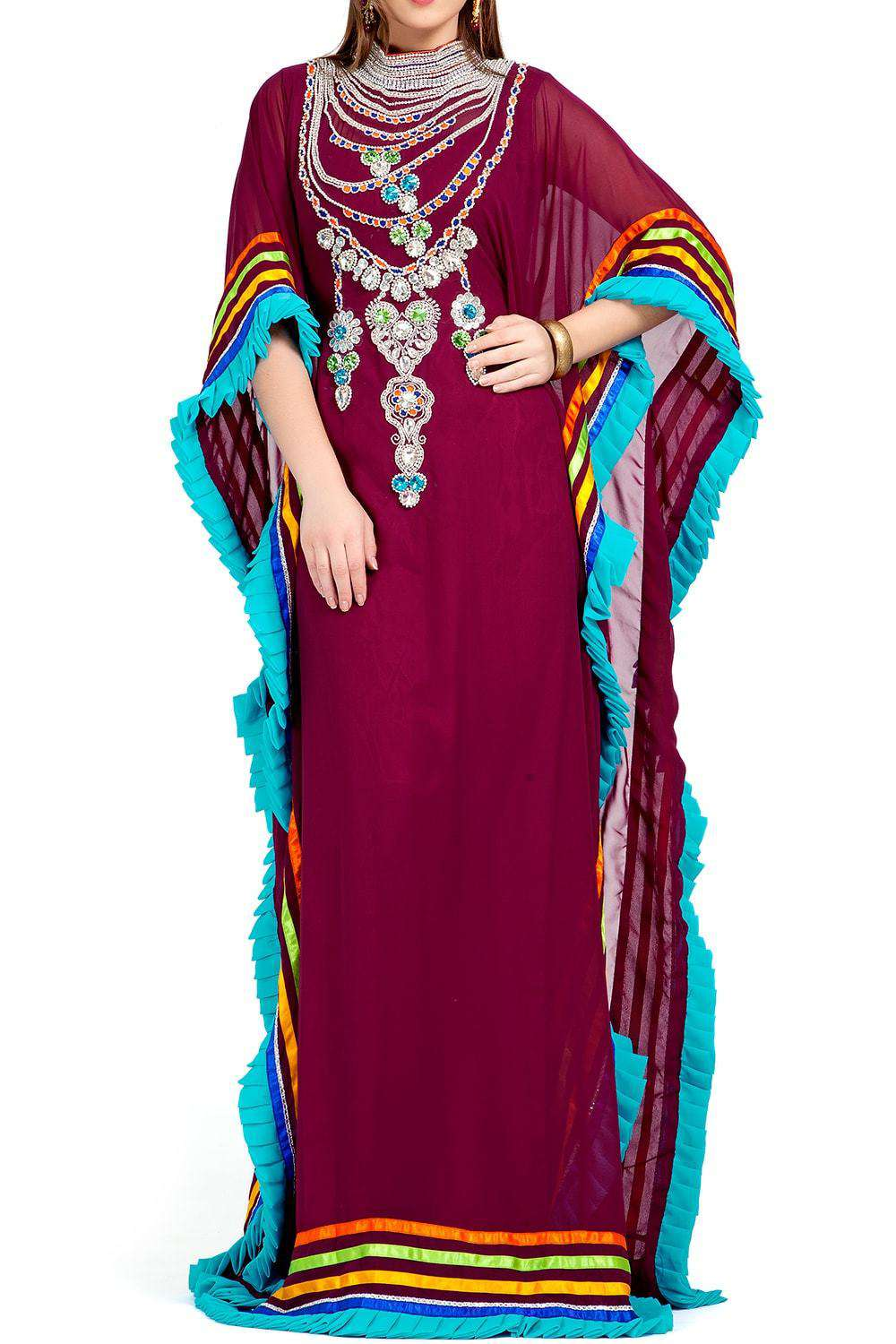 Trendy Beautiful Gulf Trend Maroon Kaftan