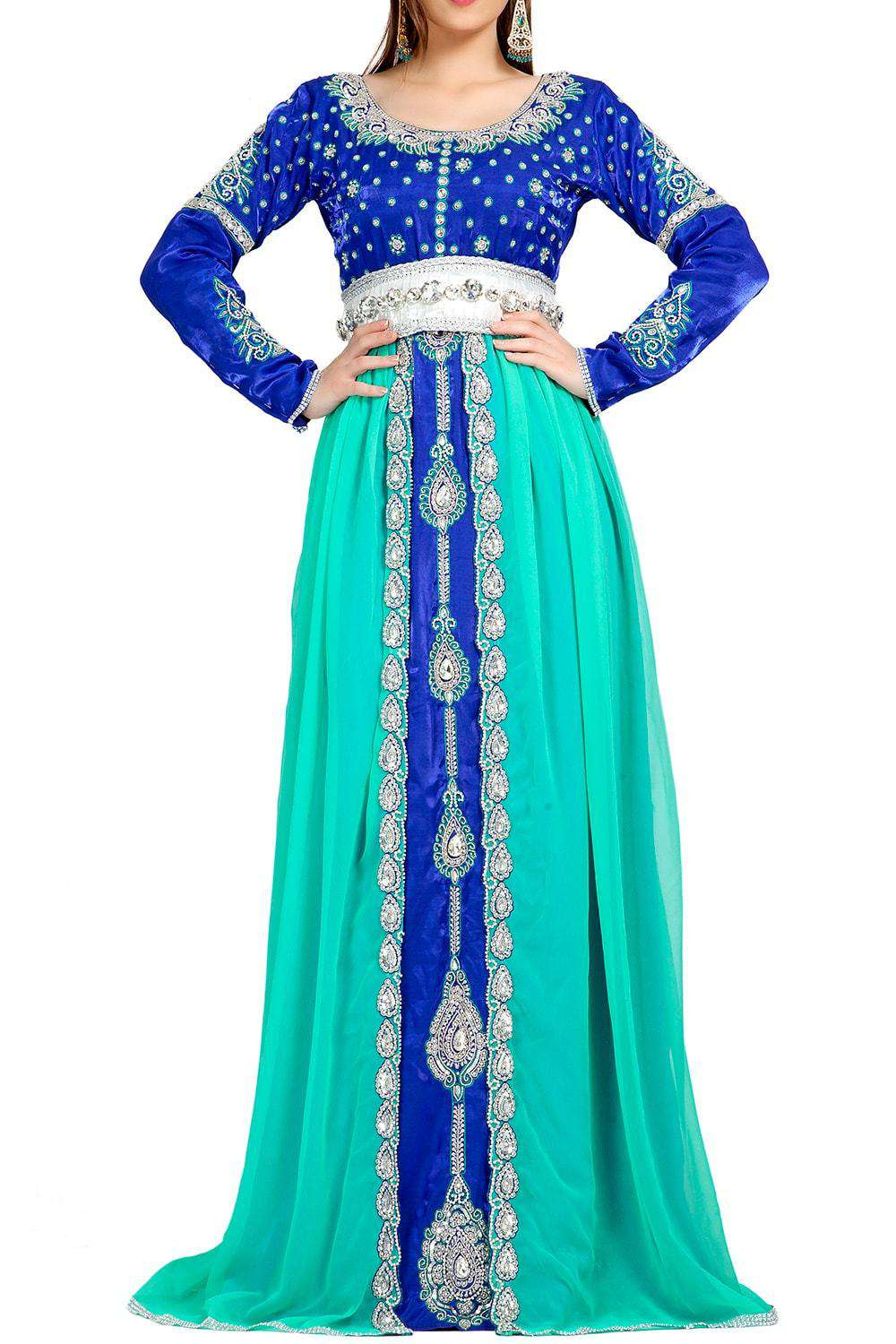 Classic Elegant Blue Embroidered Caftan