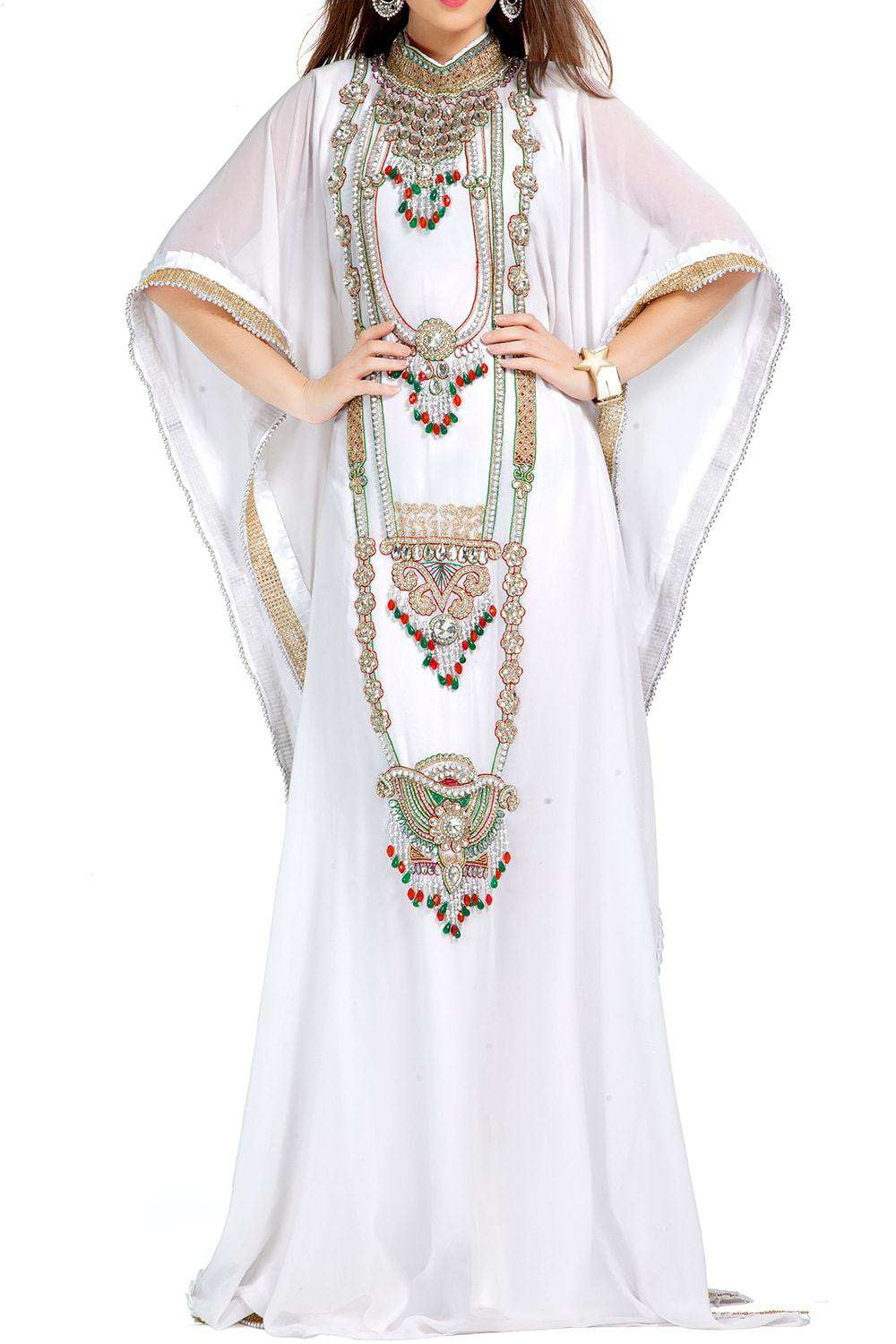 Designer Stylish And Elegant White Embroidered Arabian Kaftan