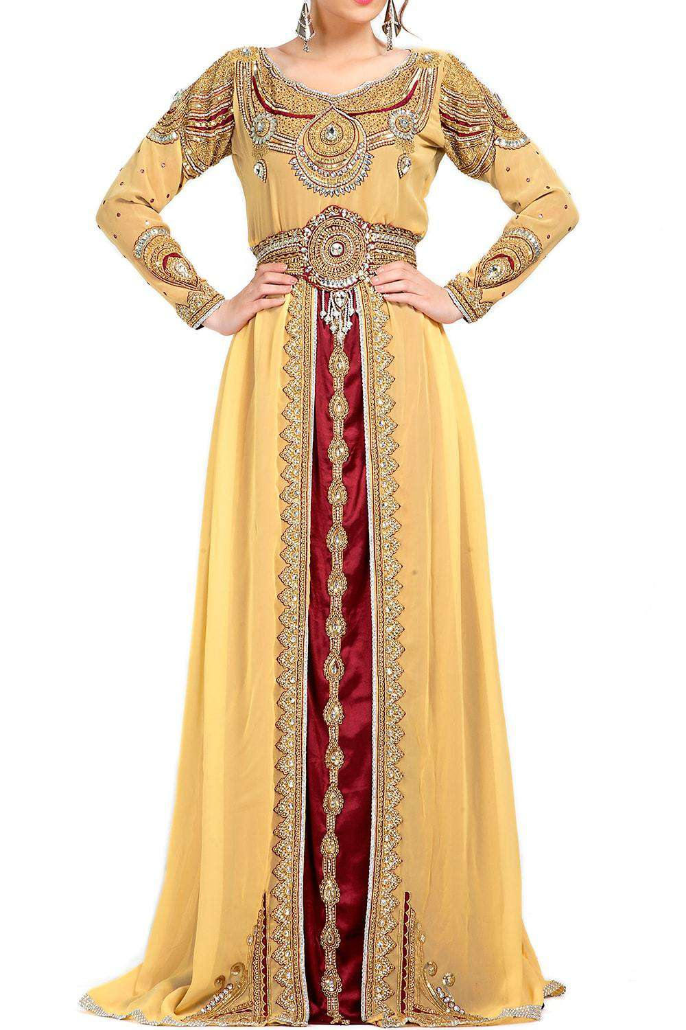 Contemporary Rich Beige Embroidered Wedding Caftan