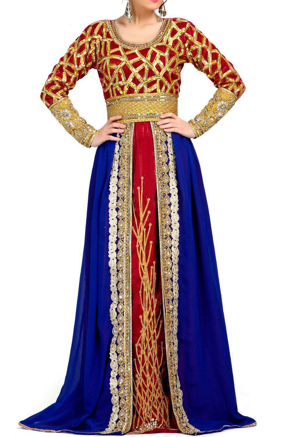 Blue and Maroon Red Color Exclusive Georgette Designer Caftan