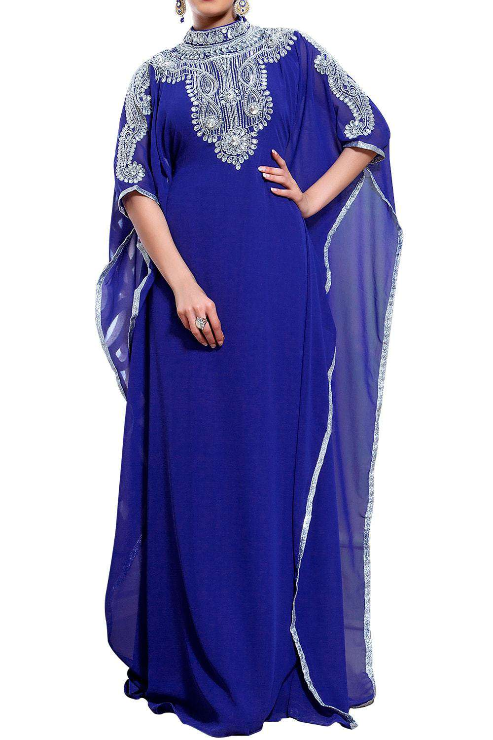 Chic Blue Color Designer Hand Crafted Kaftan