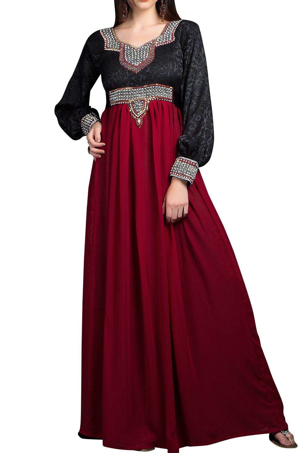 Red and Black color Georgette Caftan