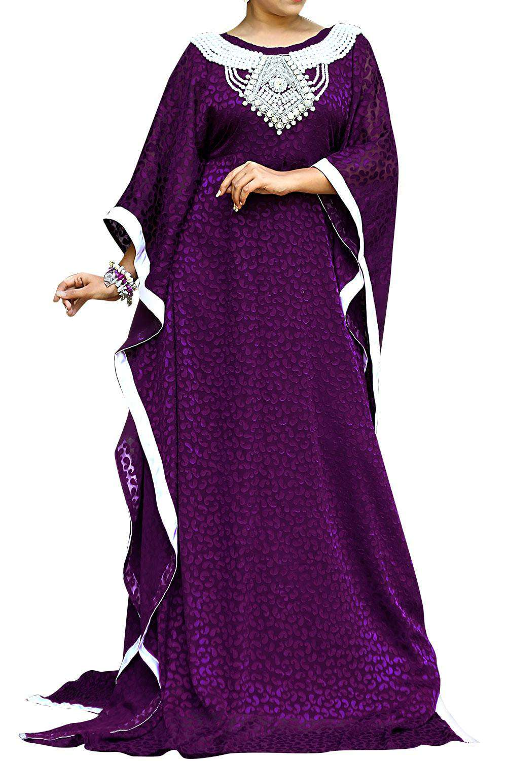Purple Color Designer Self Printed Kaftan Farasha - One Size