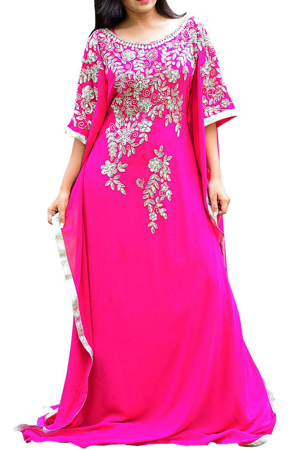 Scintillating Pink Color Georgette Embroidered Kaftan - Free Size