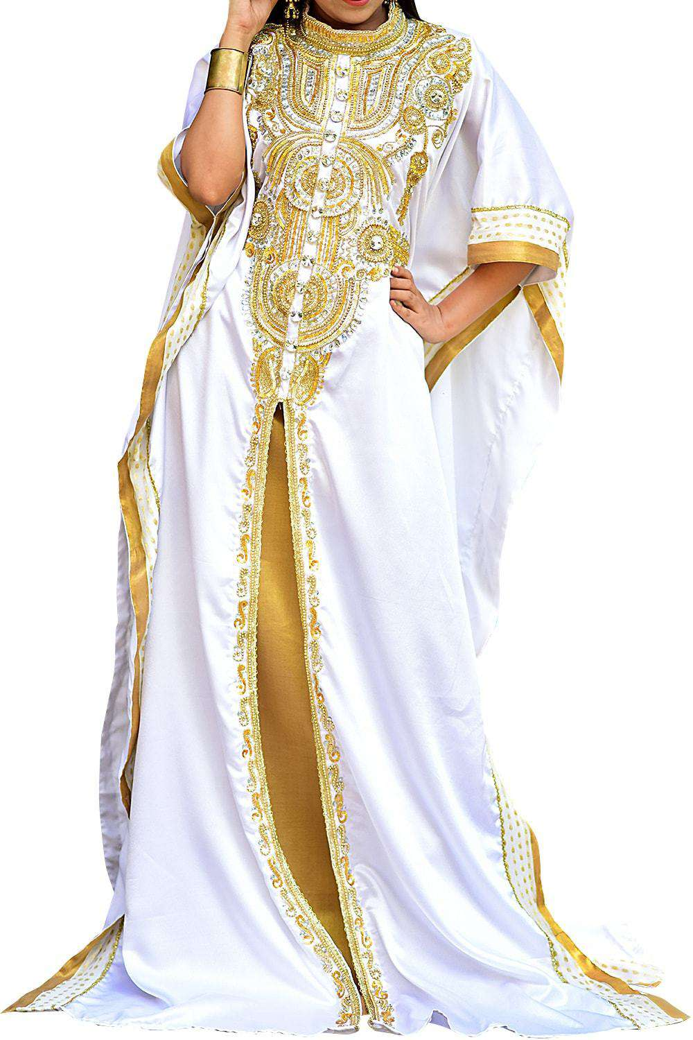 Dazzling White and Gold Color Fashionable Kaftan - One Size