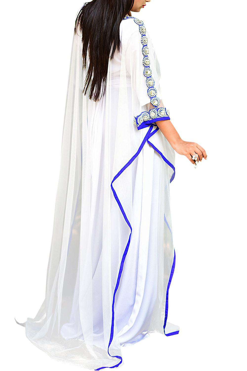 Gorgeous White Color Embroidered Net Farasha - Free Size