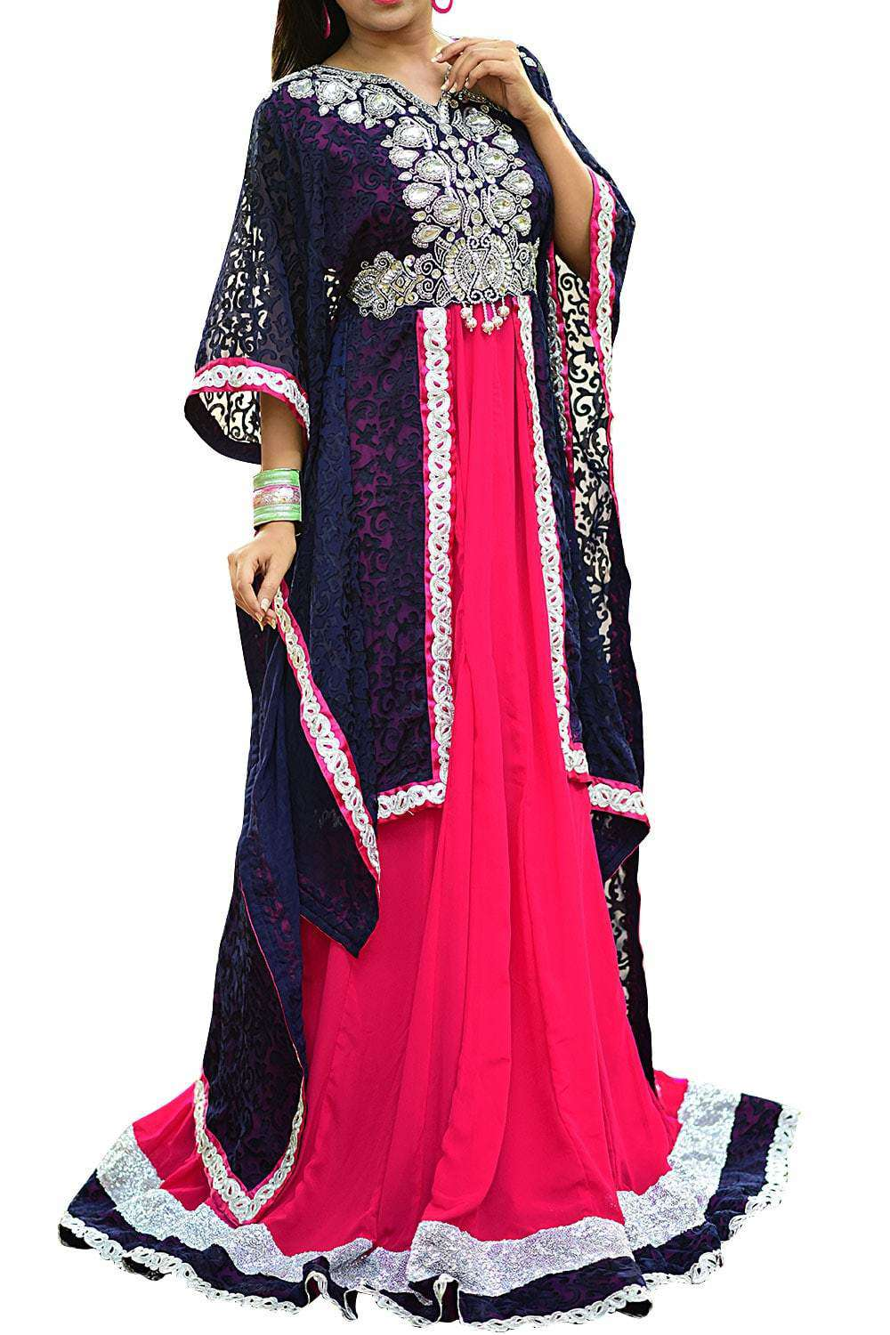 Vivacious Pink and Blue Georgette Kaftan Dress - Exclusive Fancy Dubai Caftan