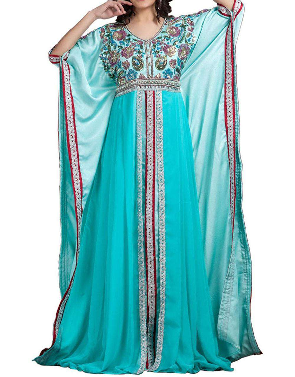 Aqua Blue color partywear Georgette Islamic Dress