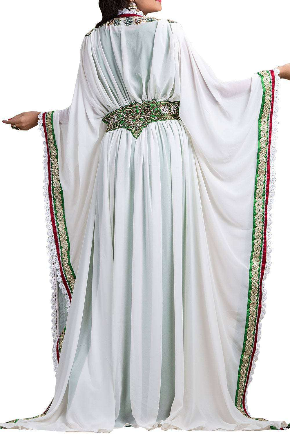 White and Green color Crepe Takchita