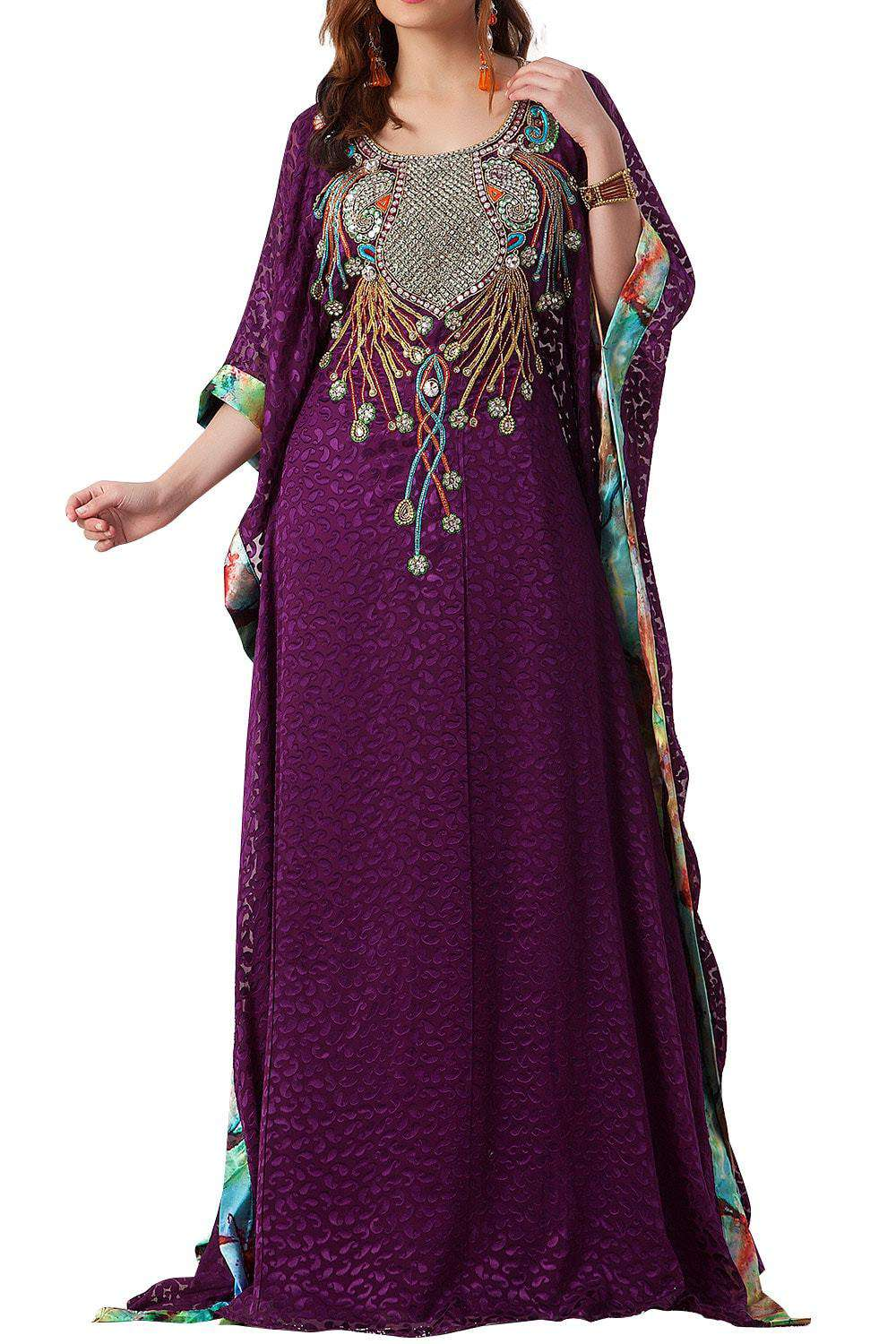 Dark Fuchsia and Pastel Color Hand Beaded Evening Party Dress Farasha