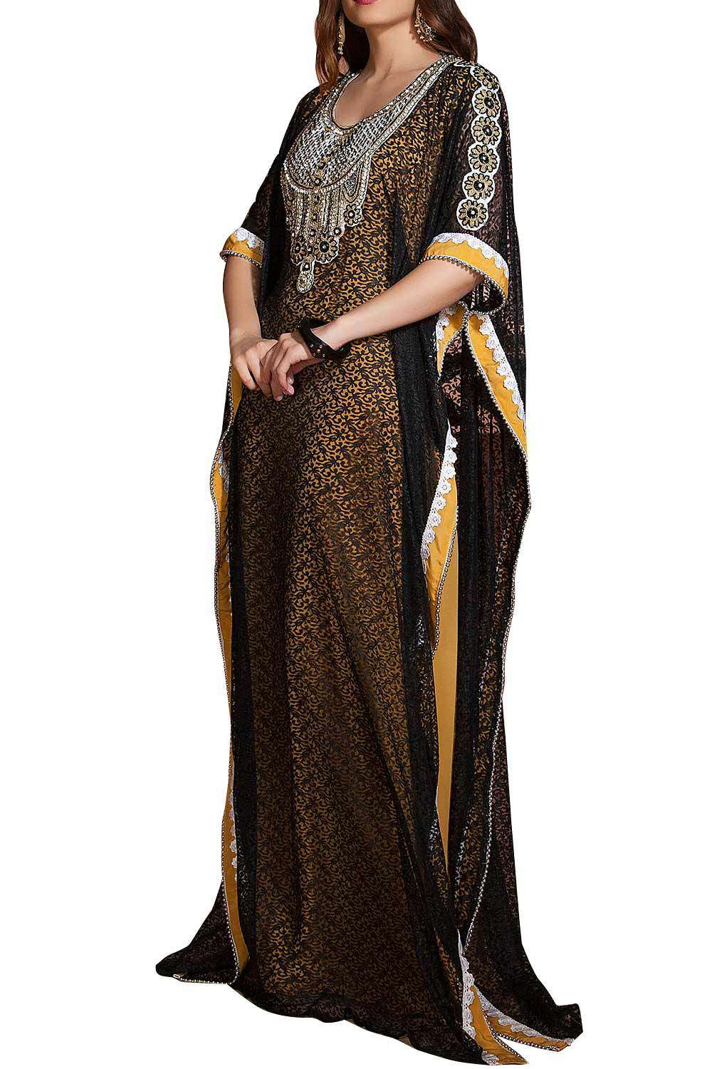 Yellow and Black Net Brasso Handmade Design Farasha Evening & Party Wear Kaftan